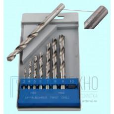 Набор сверл По металлу из  8 шт. (d3,4,5,6,7,8,9,10мм) вышлиф. Р6М5 в пластмассовом футляре (Н802)
