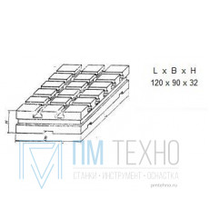 Плита Прямоугольная 120х 90х32 с Т-образными пазами 8мм (ДСПМ-1-02) (восстановленная)